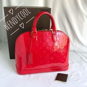 OUIS VUITTON Vernis Alma PM Red with Gift Box